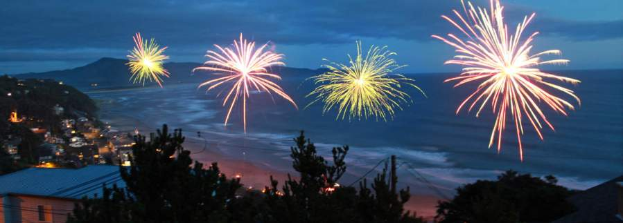 Fireworks over the beach