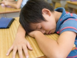 Boy sleeps at desk