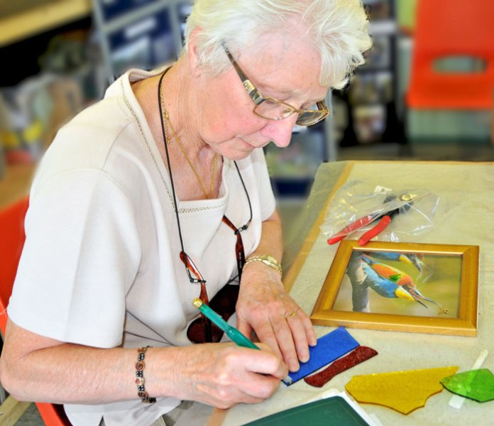 Janet planning her mosaic tile