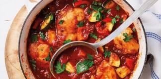 Spanish braised chicken and chorizo stew