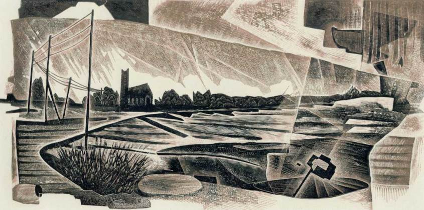 Neil Bousfield Marsh Lands 12 x 24 cm engraving