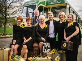 Tim Firth, Gary Barlow and the cast of Calendar Girls