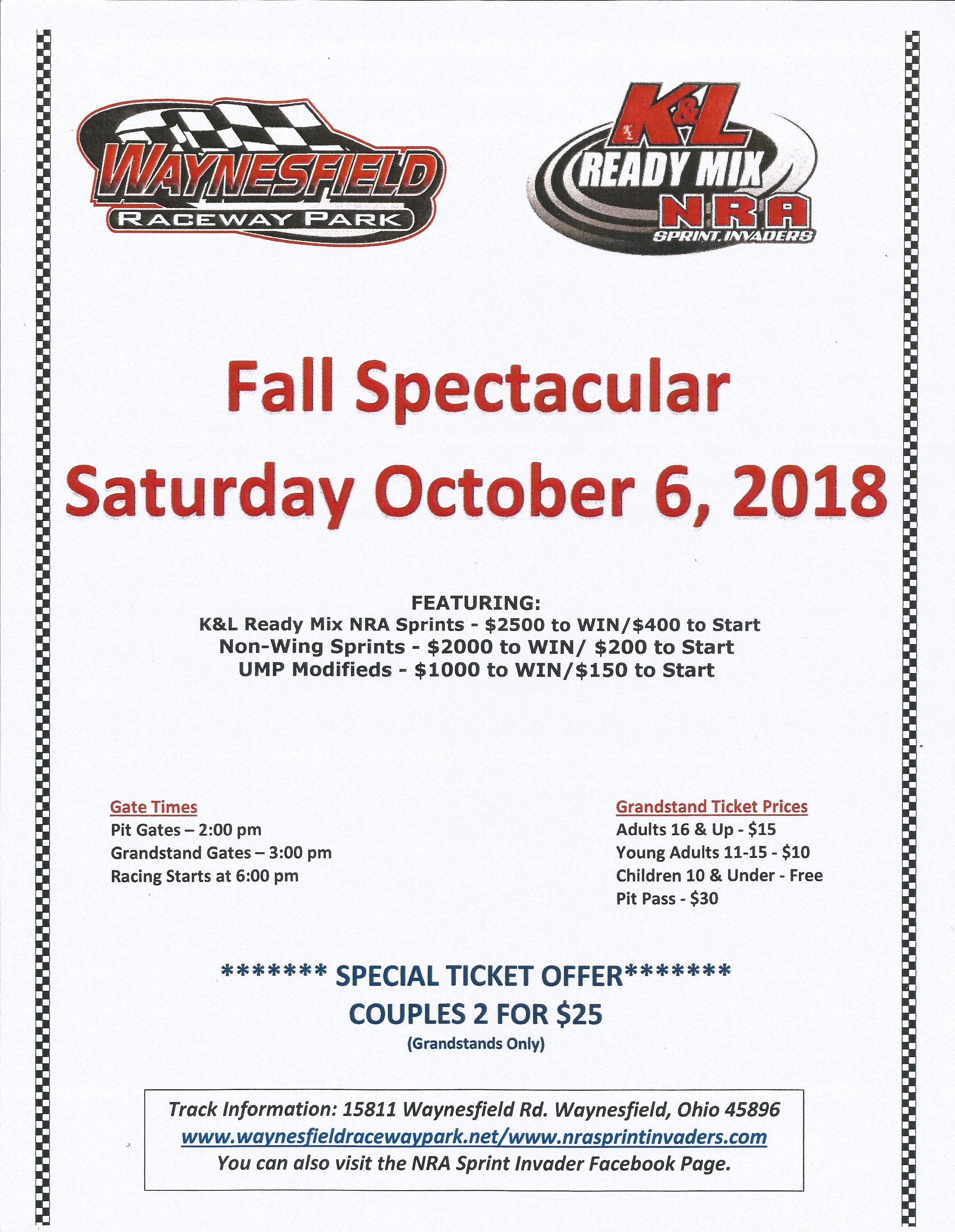 2018 Waynesfield Fall Spectacular flier