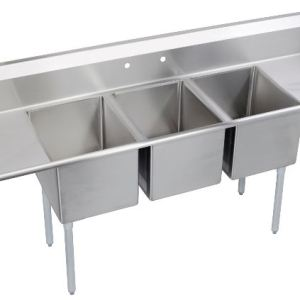 """120"""" 3 Compartment Sink with Right & Left Handed Drainboards SW0540"""