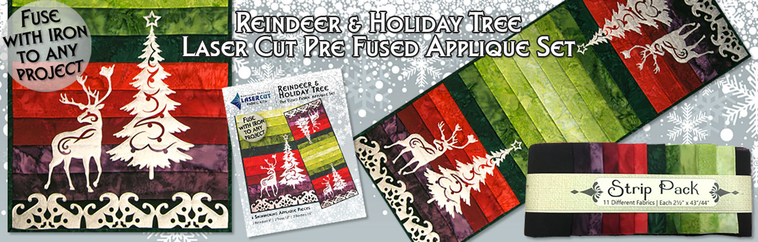 Reindeer & Holiday Tree Pre-Fused Laser Cut Applique Sets