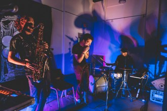 Dubbed Canada's premiere electronic jazz deconstructionists, Montreal trio Saxsyndrum have released a new single entitled 'Up To You'.