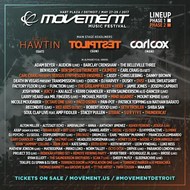 Movement Detroit 2017 Announces Phase 2 Lineup Featuring: Deadmau5 as Testpilot, Richie Hawtin, Juicy J and more. Movement Detroit, happens May 27-29.