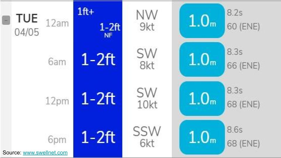 Surf, wind, and swell details