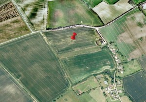 Cropmarks at Kelshall showing the location of an abandoned settlement