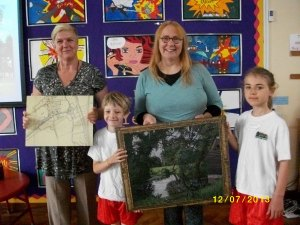 Back to Ickleford School to present the painting and a mounted Victorian map of the village