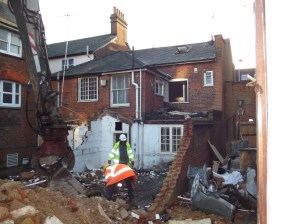 Demolition under way on what will become the entrance to the Museum and Town Hall