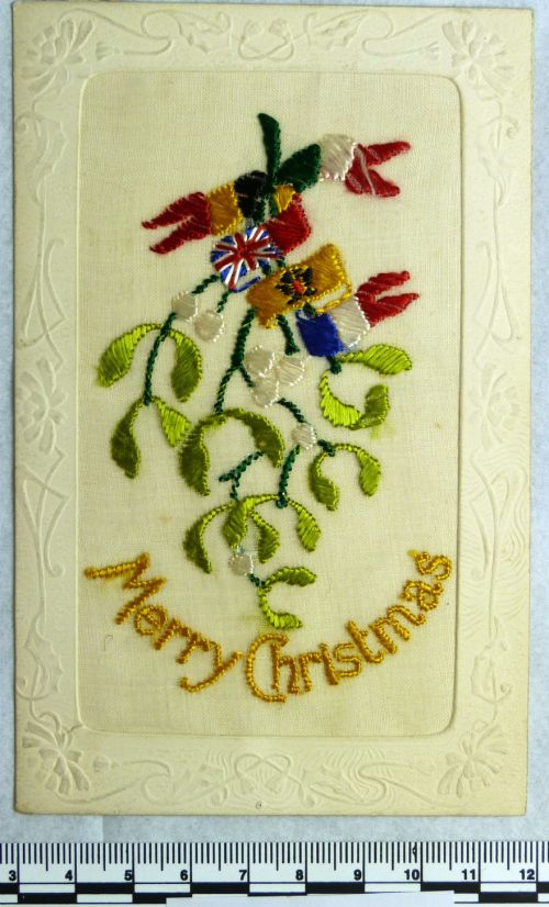 first world war embroidered christmas card