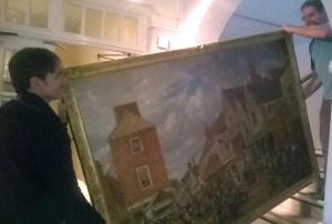 hitchin marketplace, oil on canvas, samuel lucas snr, 1840