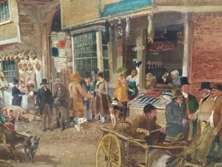 Detail from Samuel Lucas Hitchin Marketplace of 1840, to be displayed upstairs in the new museum.