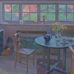 Painting showing a table and chair, with a window behind.