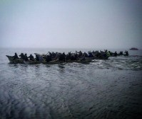 Umiaq race on July Fourth (Barrow)