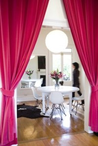 Instead of doors - http://www.thedecorista.com/2011/10/style-icious-sunday-decorista-pink.html#more