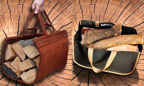 WoodEze Premium Brown Suede Leather Log Carrier