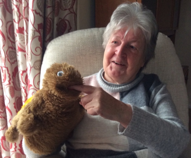 Auntie Daphne today with her 'tortise' storytelling puppet