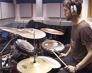 Leytonstone drum teacher Sam Thomas in the studio