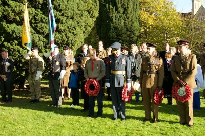 L-R Standards of Army Cadet Force, RAFA and Wreath Layers from Scouts, Royal British Legion (AVM Nigel Sudborough, 1 MWD Regt (Lt Col Foreman) and 2 Med Regt RAMC.