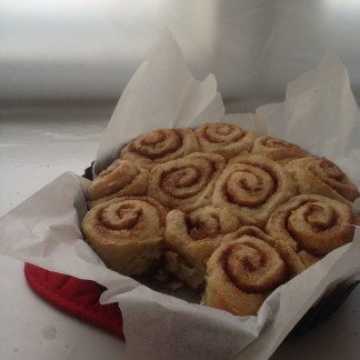 cinnamon rolls a la Grandma, which I then covered with cream-cheese-coffee icing, which was surprisingly good