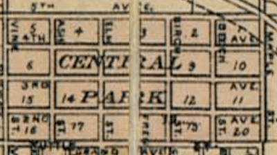 North Omaha's Central Park neighborhood in the early 1880s, when the streets were clearly labelled with their original names.