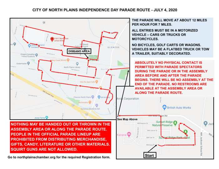 North Plains 4th of July Parade Map