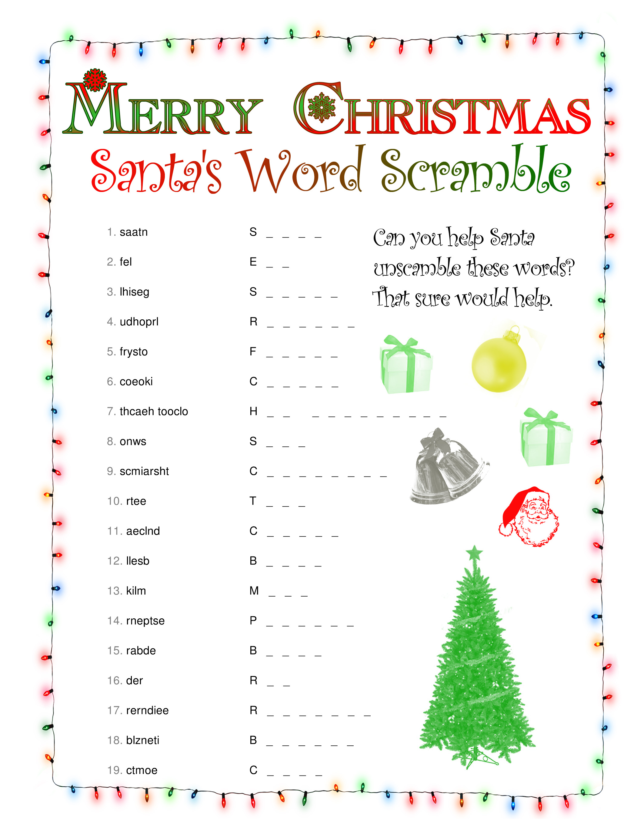 Christmas Word Scramble Free Printable Worksheet