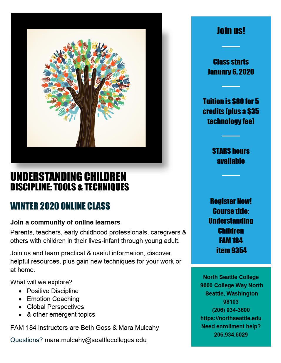 Winter 2020 Understanding Children Online Class Flyer