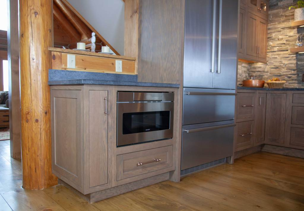 Microwave Drawer in Oak Inset Kitchen