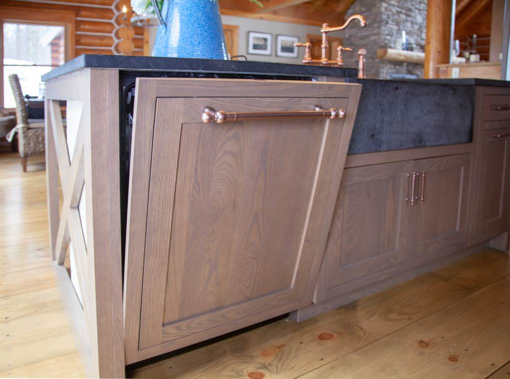 oak inset cabinet door panel on a Bosch dishwasher