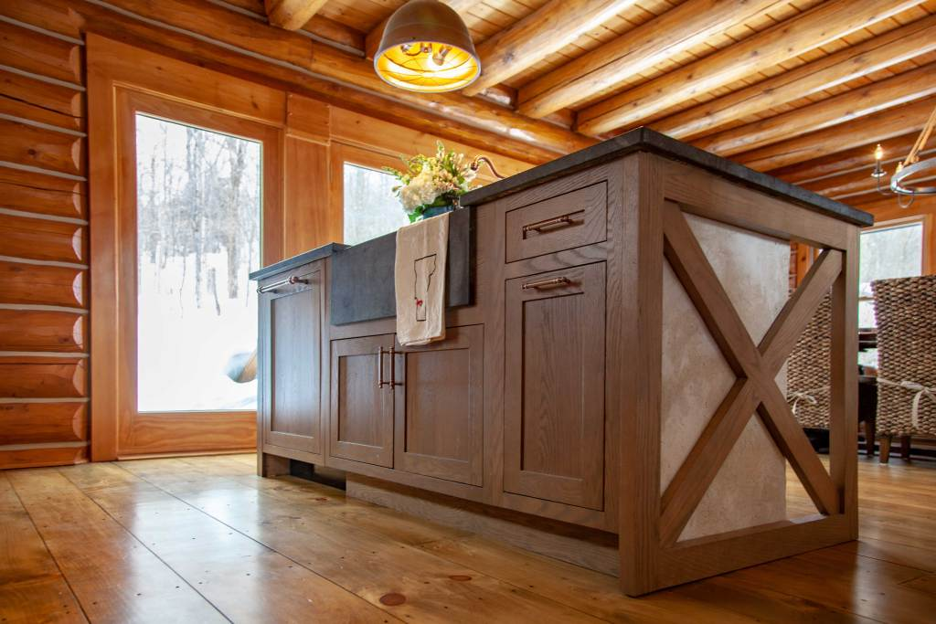 Oak Kitchen Island, Soapstone Sink and Counters