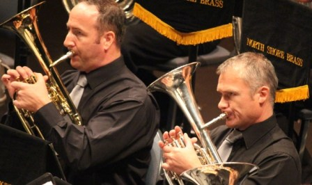 The two tenors - horn players Steve Foster and Tim Large hard at work