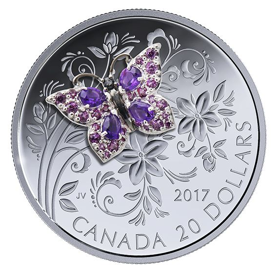 1 oz. Pure Silver Coloured Coin - Bejeweled Bugs: Butterfly - Mintage: 4,000