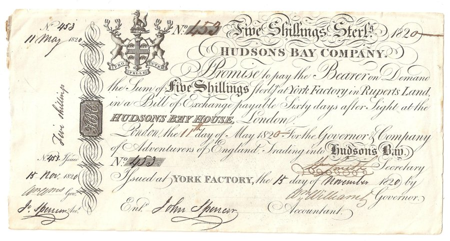 HBC 1820 Five Shillings Note 001