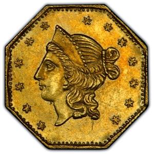 1853 California Gold Dollar obv