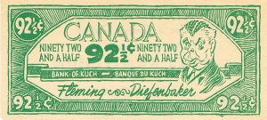 Diefenbaker - 92-1/2 cents.