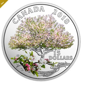 Pure Silver Coloured Coin - Celebration of Spring: Apple Blossoms - Mintage: 6,500 (2018)