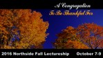 2016 Fall Lectureship: A Congregation to be Thankful For
