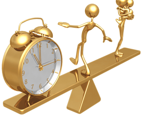 Graphic of a clock and mother with child on a see saw