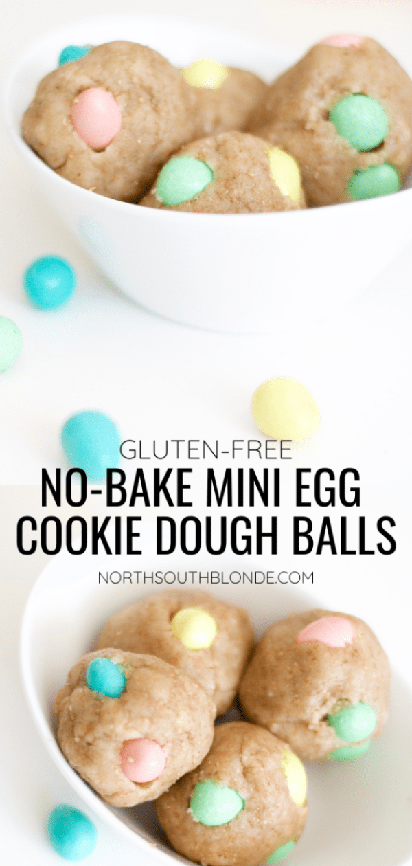 These mini egg cookie dough balls are easy to make, no-bake, gluten-free, and filled with chocolate Cadbury Mini Eggs. A perfect snack or dessert and a fun Easter activity for the kids! | Snacks | Desserts | Easy recipes | Easter | Toddler Activities | Kid Friendly | Toddler Food | No Bake | Eggless | Safe to Eat | Easter Cookies | Cookie Balls | Easter Eggs | Spring and Easter | Easter Desserts | Edible Dough | Pastel colours | Chocolate |