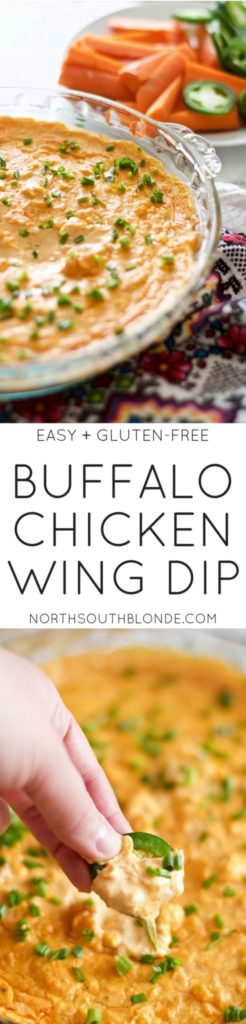 Cheesy Buffalo Chicken Wing Dip (Easy, Gluten-Free)