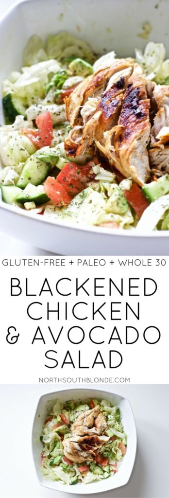 Blackened Chicken and Avocado Salad is the easiest and healthiest mealyou will ever make. In less than 20 minutes, you'll have a nutrient packed, delicious and filling lunch or dinner that aids in weight loss. Ketogenic | Keto | Low Carb | Gluten-Free | Healthy | Dinner Recipe | Low Carb Salad | Keto Salad | Paleo | Whole 30 | Weight Loss | Summer Recipes | Chicken Avocado | Blackened Chicken | Easy Dinner Recipe |