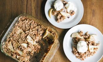 Baked Oatmeal Apple Crisp is a one pan dish - simply mix ingredients, bake, and serve as a dessert or a healthy, wholesome morning breakfast. Gluten-free, vegan and refined sugar free!