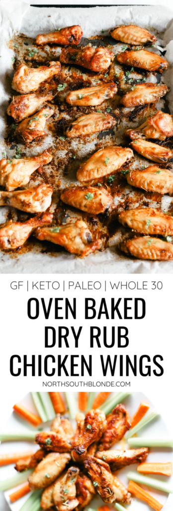 Low carb and full of flavour! An easy chicken wing dinner recipe to make, just pair your wings with your favourite side dish and dip and enjoy! Dry Rub Chicken Wings | Dry Rub Seasoning | Dry Rubbed | Keto | Ketogenic | Oven Baked Chicken Wings | Naked Chicken Wing Recipe | Not Breaded | No Breading | Gluten-Free | Paleo | Whole 30 | Game Night | Crispy | Chicken Seasoning | Poultry Seasoning | Family Dinner |