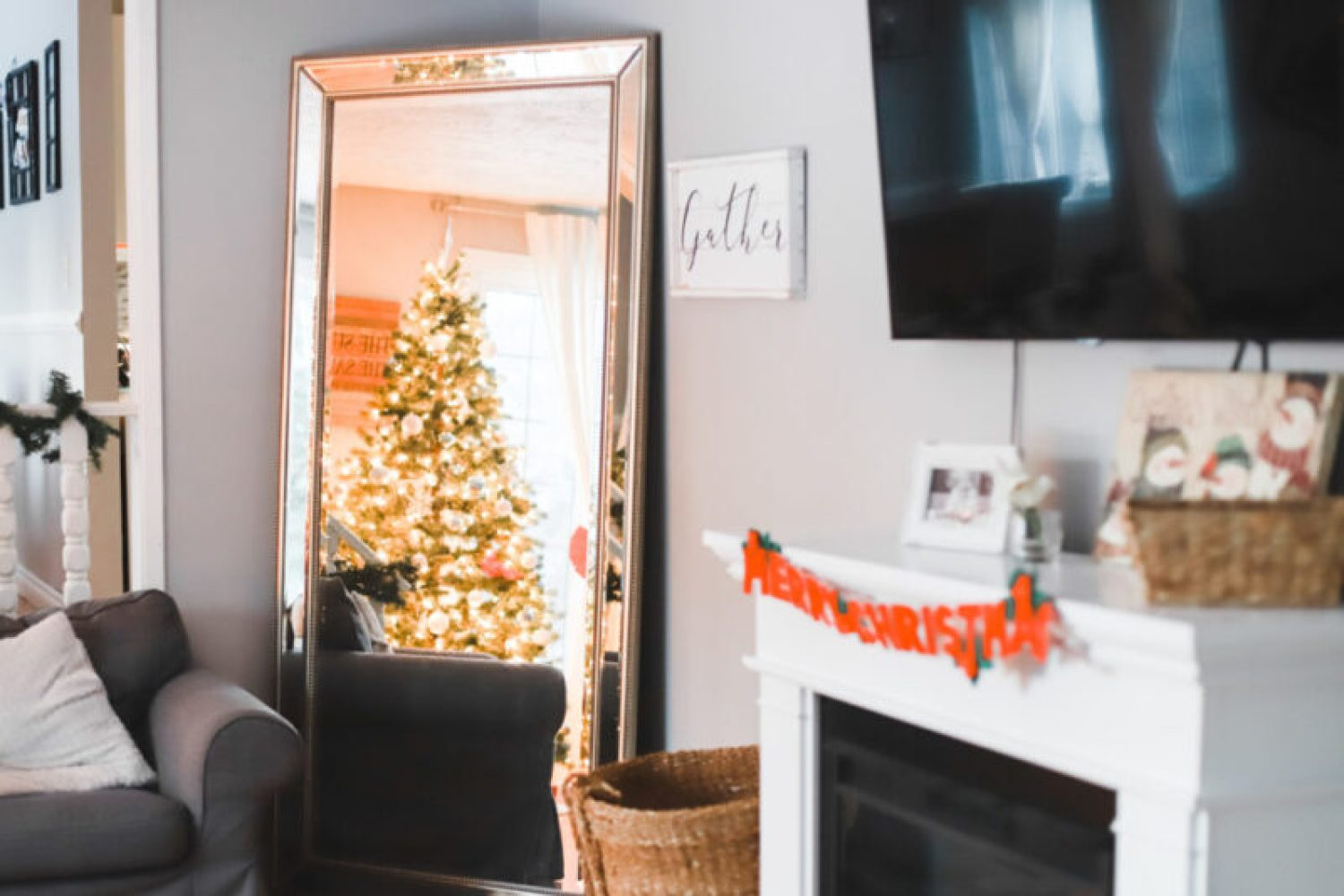 This is our living room home tour with minimal, cozy, and affordable Christmas decorations for the holiday season. I'll be linking everything from our rug, furniture, and accents, to our Christmas tree and electric fireplace. Home Design | Home Decor | Christmas Decor | Christmas Decorations | Deck The Halls | Holiday Decorating | Xmas Tree | Ikea Ektorp Sofa | Nordvalla Grey | Hemnes Sofa Table | TV on Top of Fireplace | Mantel |