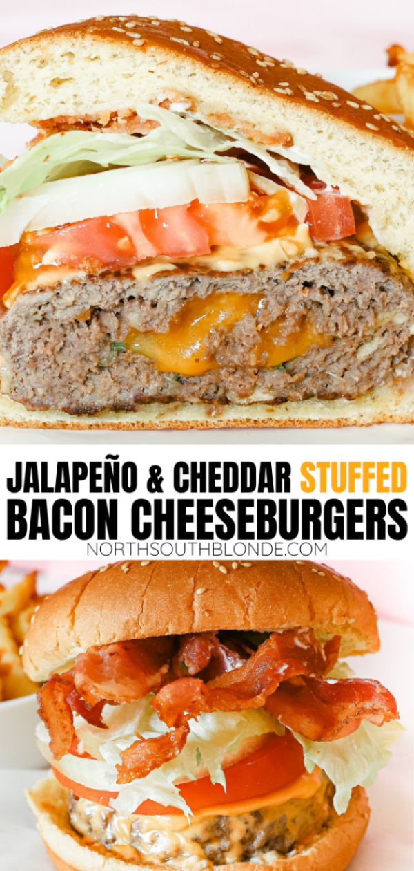 The ultimate treat for lunch or dinner this grilling season. A juicy and delicious stuffed burger recipe that's bursting with flavour! Homemade Burgers | Cheeseburger Recipe | Burger Recipes | Stuffed Burgers | Bacon Burgers | Cheesy | jalapenos | jalapeno and cheese | grilled | bbq recipes | grilling | bbq dinner | bbq lunch | Gourmet Burger Recipe |