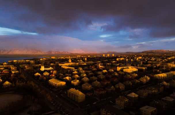 iceland light city dawn