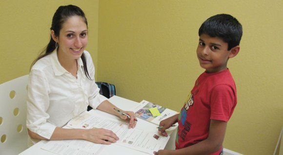 JEI Learning Center Instructor Jessica Johnston and student Saheij Bhogal.
